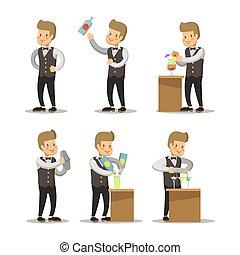 Happy Barista Cartoon. Barman with Cocktails. Vector...