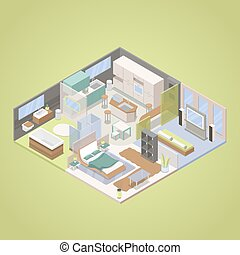 High Tech Modern Apartment Interior Design with Living Room, Bedroom and Kitchen. Isometric vector flat 3d illustration