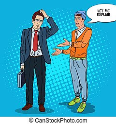 Stylish Teenager Explaining Something to Thoughtful Businessman. Pop Art vector illustration