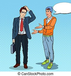 Teenager Explaining Something to Thoughtful Businessman. Pop Art vector illustration
