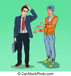 Young Man Explaining Something to Thoughtful Businessman. Pop Art vector illustration