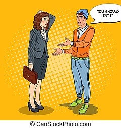 Young Man Explaining Something to Businesswoman. Pop Art vector illustration