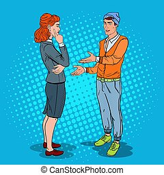 Man Talking with Business Woman in Office.