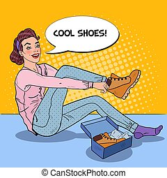 Young Beautiful Woman Trying on New Shoes in a Shop. Seasonal Shopping. Pop Art vector illustration