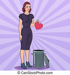 Unhappy Woman Throws Her Heart in the Trash. Unrequited...
