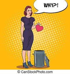 Unhappy Beautiful Woman Throws Her Heart in the Trash....