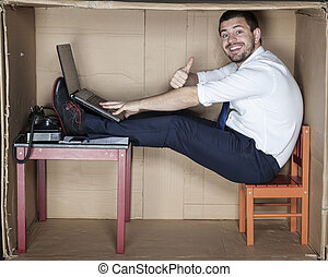 happy businessman in his office