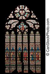 rose window - Detail of the Gothic window - bullseye pane -...