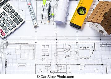 värdera, Hus, räknemaskin, Planer,  costing