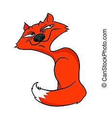 Cartoon Fox smiles slyly, vector illustration. - Cartoon Fox...