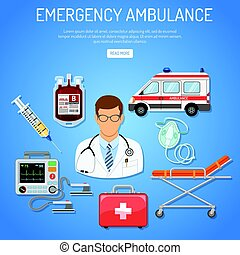 medical emergency ambulance concept with flat icons doctor,...
