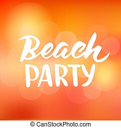 Beach party hand drawn brush lettering