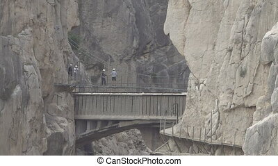 'El Caminito del Rey' zoom out from final bridge, route end...