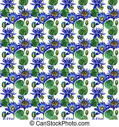 Wildflower blue lotus flower pattern in a watercolor style...