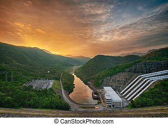 concrete dam for hydro electric power plant with beautiful...