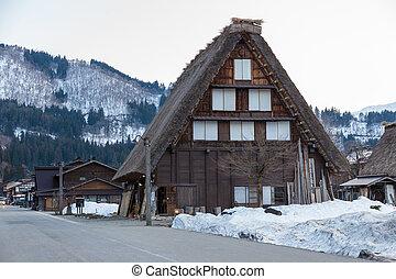 shirakawago, storico, villaggio
