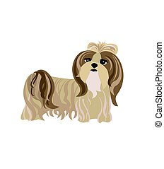 Funny dog pale cream Yorkshire terrier. Vector