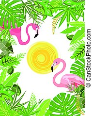 Tropical green flowers frame with pair of pink flamingo