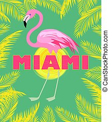 T-shirt print with Miami lettering, palm leaves, sun and...