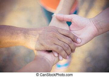 Hands group teamwork concept.