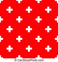 Seamless plus pattern on red