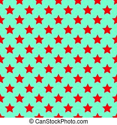 Seamless red stars on blue