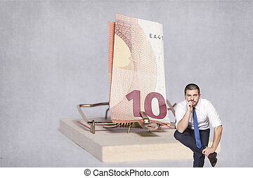 businessman considering taking a risk