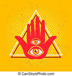 Hand and two eyes. - Vintage vector illustration of hand and...