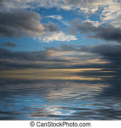 Seascape with dramatic sky - Beautiful seascape with...