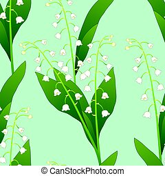 White Lily of the Valley on Green Mint Background. Vector...