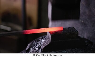 Using Pneumatic Hammer to Shape Hot Metal