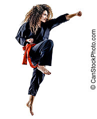 woman Kung Fu Pencak Silat isolated - one caucasian woman...
