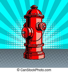 Fire hydrant pop art style vector illustration - Red fire...