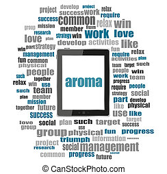 Text aroma. Social concept . Word collage with tablet pc