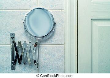Vintage mirror in bathroom - Vintage retro chrome mirror...