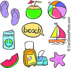vector art summer object doodles