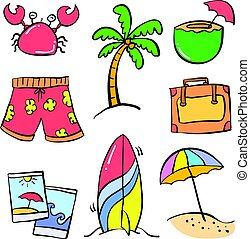 Collection object holiday summer doodles
