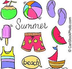 Doodle of object holiday summer
