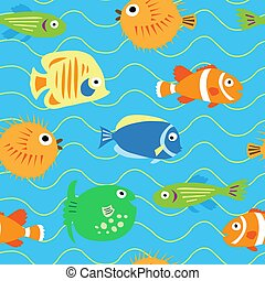 Seamless cute pattern with different tropical fish -...
