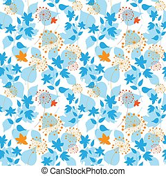 Seamless floral pattern with different forest plants