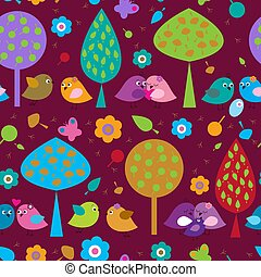 Seamless ornament with birds in love in the forest -...