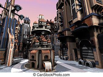 3D Rendering Futuristic City