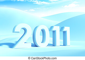 new year 2011, 3d render