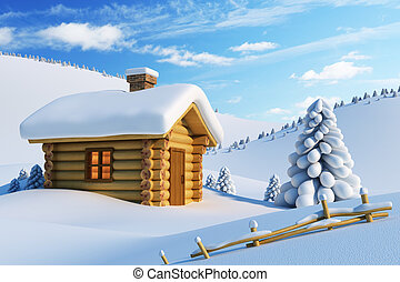 house in snow mountain - log house and fir-tree in...