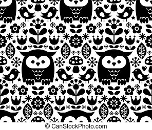 Scandinavian seamless pattern, Nordic folk art - inspired by...