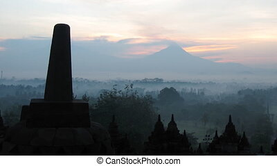 Timelapse of sunrise in Borobudur