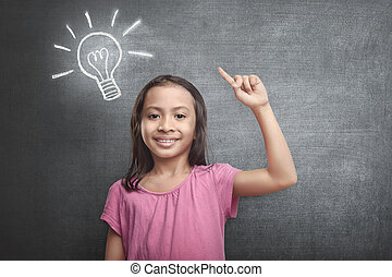Cheerful asian kid with bright idea symbol above her head