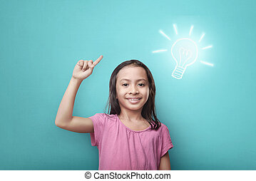 Clever asian child with bright idea symbol above her head