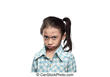 Unhappy asian little girl with sad expression isolated over...
