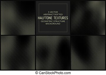 Vector Abstract Halftone Texture - Set of 5 Vector Abstract...